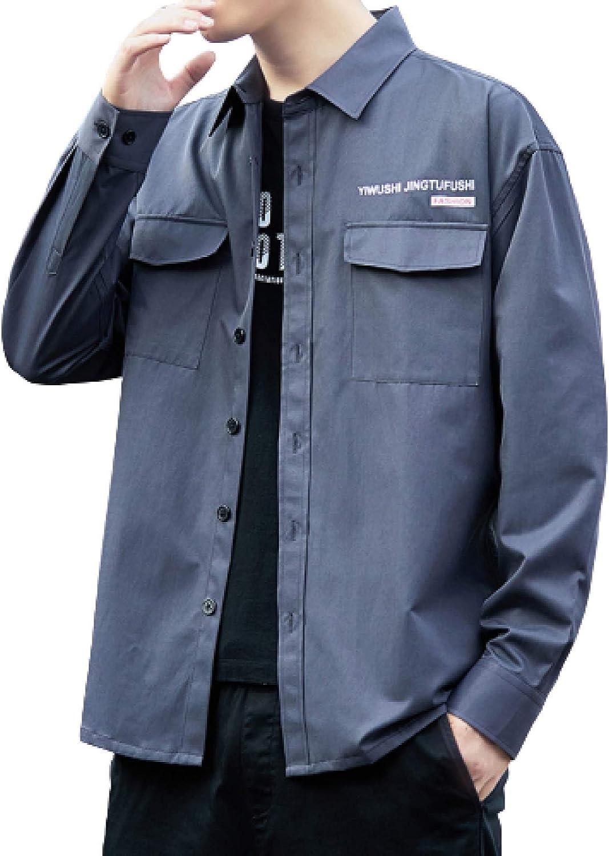 Long Beach Mall Men's High quality new Stitching Two-Pocket Cargo Fashion Shirt Simplicity Lapel