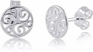 Sterling Silver Celtic Triskelion Stud Earrings - 8mm