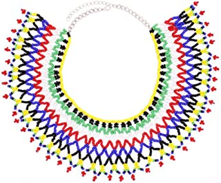 African Zulu Beaded Bib Necklace Tribal Big Statement Choker Necklace Multicolor Acrylic Indian Ethnic Fashion Jewelry for Women
