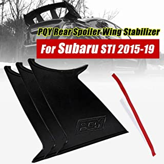 PQYRACING 3PCS Spoiler Wing Stabilizer Compatible for Subaru STI 2015-18 Spoiler Wing Stiffi Support Rally with PQY Logo