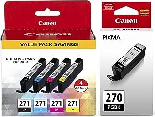 Canon PGI-270 Pigment Black Ink Tank + Canon CLI-271 CMYK Ink Tank 4-Pack