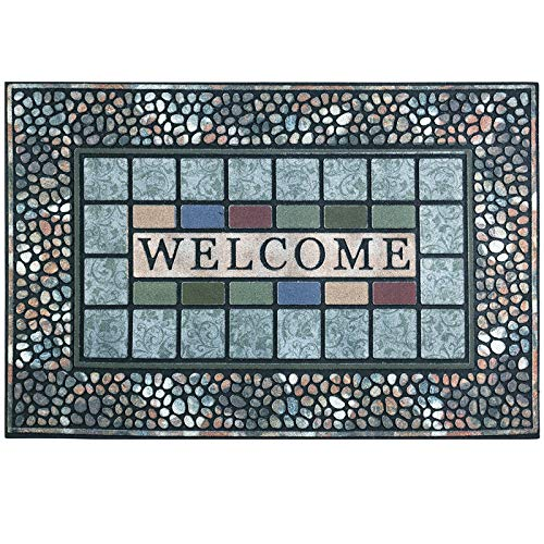 CHICHIC Entrance Door Mat Large 24 x 36 Inch Entry Way Doormat Front Door Rug Outdoor Heavy Duty Welcome Mat, Non Slip Rubber Back Low Profile for Garage, Patio, High Traffic Area, Rectangle Style A