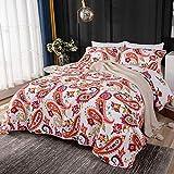 SETSCZY Tagesdecke Baumwolle 230 x 250cm, Bettüberwurf Sofaüberwurf Bunte Baumwolldecke Doppelbett Bunte Gesteppte Decke Stil 2 Kissen Set,Rot