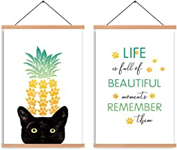 HPNIUB Natural Wood Magnetic Hanger Frame Poster- Cat Canvas Wall Art Print,Inspirational Saying Quote Painting Pineapple ...