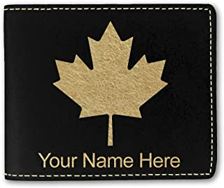 Faux Leather Wallet, Maple Leaf, Personalized Engraving Included