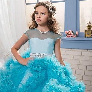 GFDGG 女の子の子供はクリスマスプレゼントの王女の服のための結婚披露宴の服を刺繍しました (色 : 青, サイズ : 160)