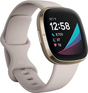Fitbit Sense, Advanced Smartwatch with Tools for Heart Health, Stress Management & Skin Temperature Trends, Lunar White/So...