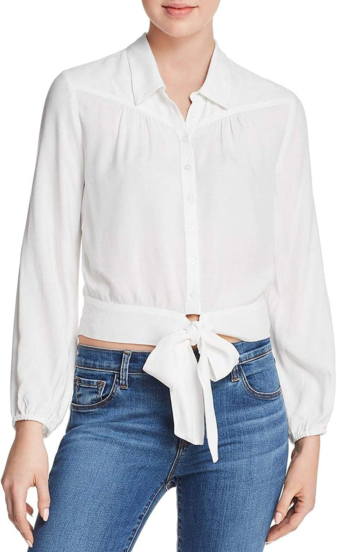 PAIGE Womens Damaris Sheer Blouse ButtonDown Top