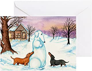 CafePress Snow Weiner Dog Christmas Greeting Cards (10) Greeting Card (10-pack), Note Card with Blank Inside, Birthday Card Glossy