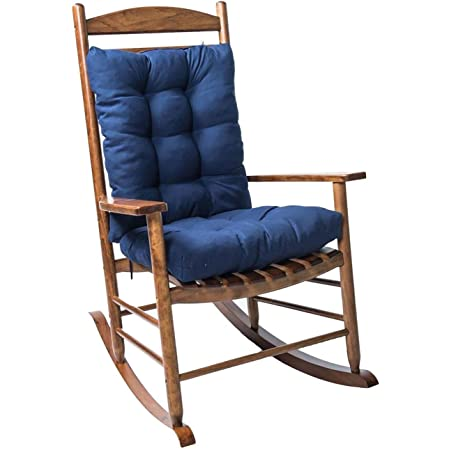 Coussin de Chaise berçante, Coussin de Chaise Longue à Dossier Haut, Coussin d'assise, Coussin Fauteuil Jardin epaissi, Coussin pour Chaise à Bascule, Fauteuil, Rocking Chair Coussin 3D (Bleu Marine)
