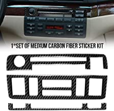 Red-eye Carbon Fiber Car Stickers Central Control Upper Middle Lower Combination Compatible with BMW's Old 3 Series E46 Carbon Fiber Panel Cover Trim Sticker Car Interior