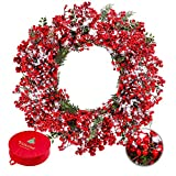 Frdsomar Large Berry Christmas Wreath with Storage Container for Front Door 26inch Artificial Holly Berry Wreath with Snow, Winter Wreaths for Indoor, Outdoor Decor, Windows, Wall, Fireplace Decor …