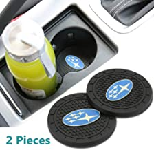 Auto sport 2.75 Inch Diameter Oval Tough Car Logo Vehicle Travel Auto Cup Holder Insert Coaster Can 2 Pcs Pack (Subaru)