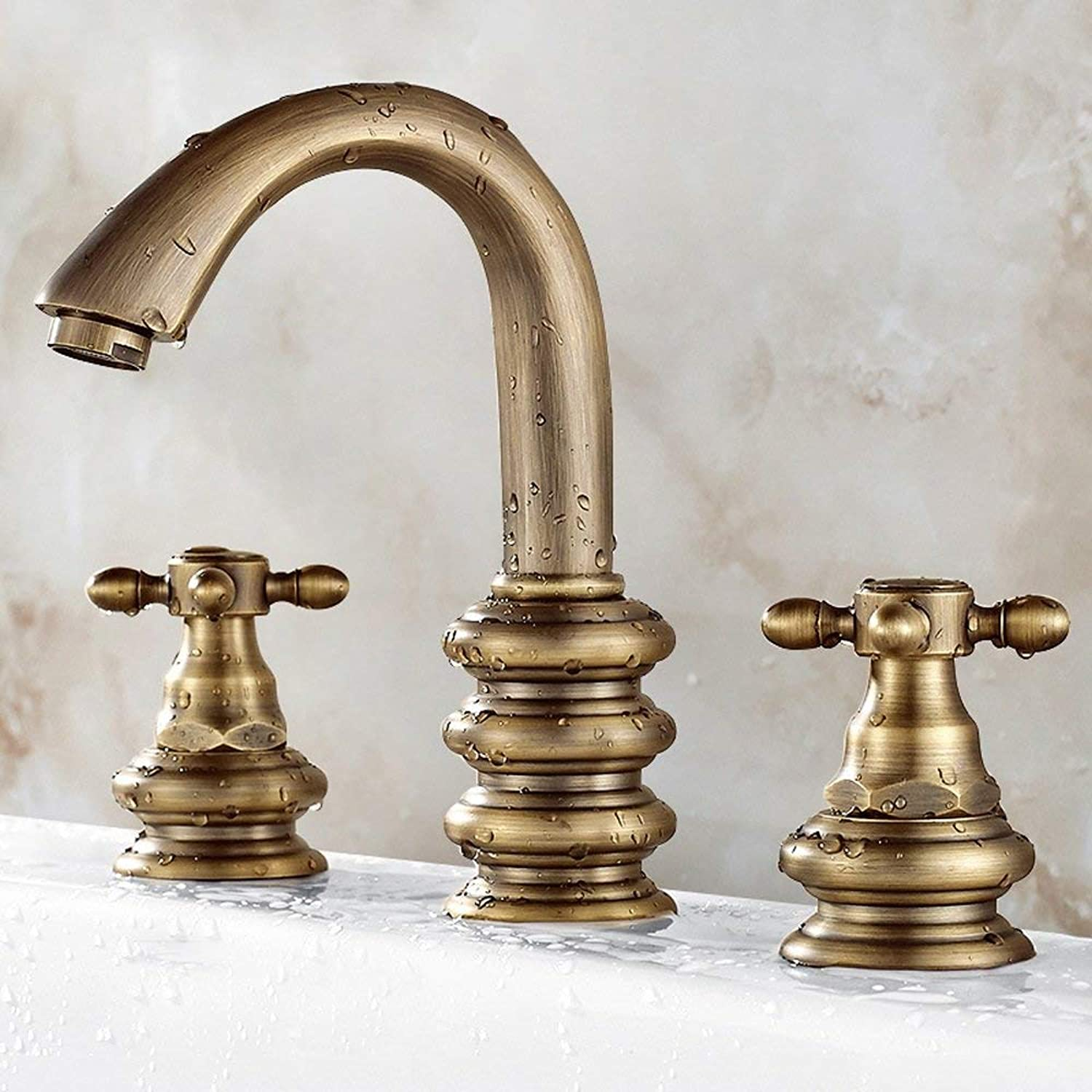 European Style All Bronze Antique Design Process Faucet Bathroom Double Handle Sink hot and Cold Water Three Holes Bathroom Sink Mixer Toilet Mixer