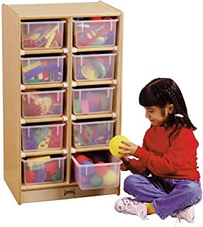 Jonti-Craft 10 Tray Mobile Storage with Colored Trays Without Trays
