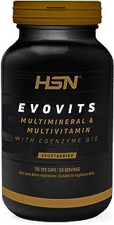 Evovits de HSN | Multivitaminas y Minerales | Complejo Multivitamínico para Mujer, Hombre, Vegetarianos y Deportistas, Sin Gluten, Sin Lactosa, 120 Cápsulas Vegetales