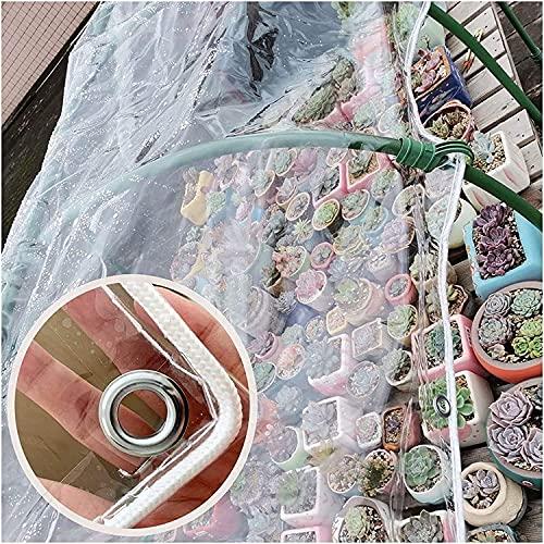 LIJINBO Lonas Impermeables Exterior,Sábana De Lona Transparente Impermeable Con Ojales, Lona De PVC Resistente A La Intemperie Para Exteriores, Para Cubierta De Mesas Y Sillas De Patio, 36 Tamaños