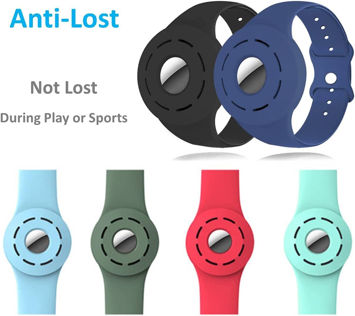Soft Silicone Band Case for Airtag , Anti-Lost Wristband Case Cover for Children and Old Man , Airtag Band Kids Airtags Bracelet Protective Cover Compatible with Apple AirTag 2021 (Light Blue)