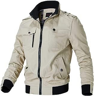 BOZEVON Men's Cotton Jacket - Stand Collar Military Jackets Coat Zipper Windbreaker Outwear