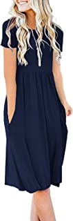 Women Summer Casual Short Sleeve Dresses Loose Plain Dress with Pockets