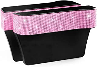 HOB4U Bling Car Seat Organizer Front Seat Gap Filler with Crystal Rhinestones Diamond, 2 Pack PU Leather Car Seat Organizer for Car Interior Accessories for Women, Pink
