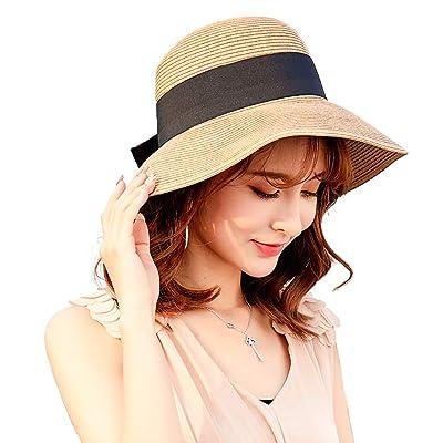 Sun Hat Wide Brim Straw Hat Summer Bowknot Flop...