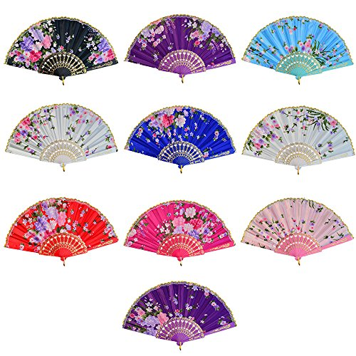 Mejor Hand Held Folding Fans(2 Pcs)-Silk Hand Fans with Vintage Retro Style Patterns & Elegant Tassel,Hand Fans for Women with Bamboo Frame and Delicate Sleeve,Perfect for Party Wedding Dancing Decoration crítica 2020