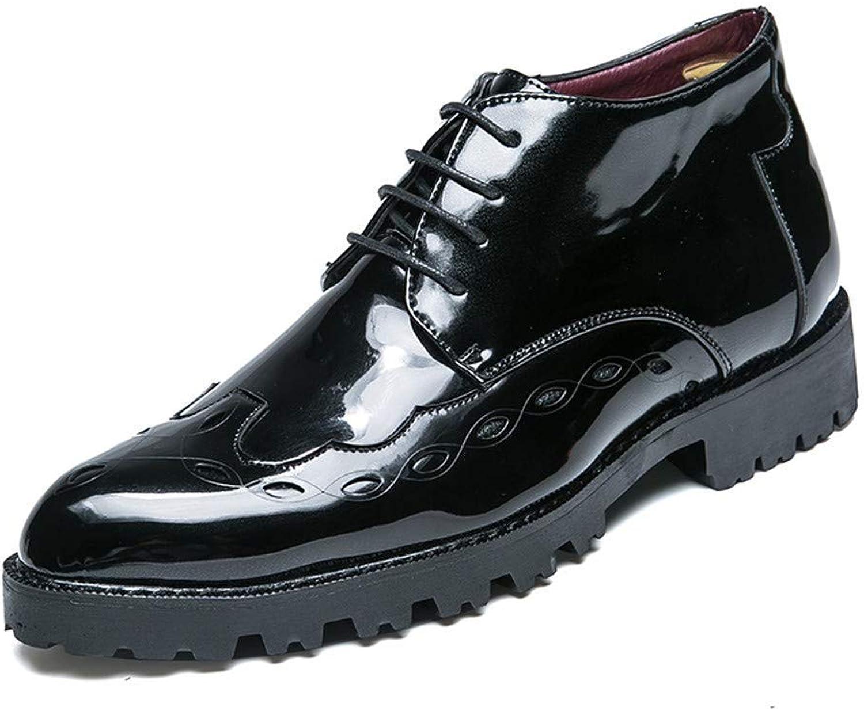 FuweiEncore 2018 Herren Business Oxford-Schuhe, lässig mit mittellangem mittellangem mittellangem Spitze, Atmungsaktives Lackleder Brogue-Schuhe, grau, 42,5 (Farbe   Schwarz, Größe   UK 7 EU 40)  0c7fca