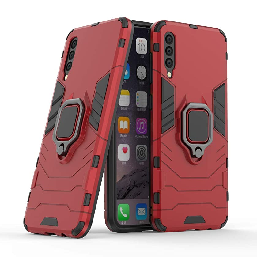 Galaxy A50 2019 Case, Folice 2 in 1 Metal Ring Grip Iron Man Design [Magnetic Car Mount] Heavy Duty Armor Hard Back Case Cover for Samsung Galaxy A50 2019 SM-A505 (Red)