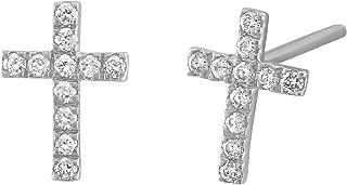 14k White Rose or Yellow Gold Diamond Cross Stud Earrings (1/8 cttw, H-I, I1)