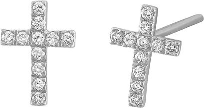 Olivia Paris 14k White Rose or Yellow Gold Diamond Cross Stud Earrings (1/8 cttw, H-I, I1)