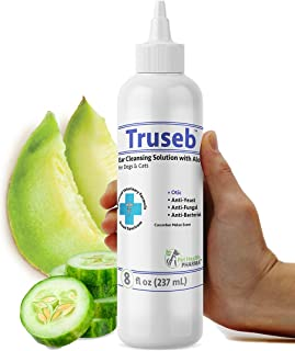 Truseb |#1 Cat and Dog Ear Cleaner - Otic Rinse for Infections and Controlling Yeast, Mites and Odor in Pets Cucumber Melon (8 Oz) Veterinarian Formulated – 100% Empty Bottle Satisfaction Guarantee