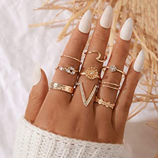 Xerling Women Gold Ring Boho V Ring Pack for Women and Girls Size 5-8 Wave Ring Leaf Rhinestones Ring Vintage Knuckle Fing...