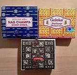 Conos de incienso Nag Champa Juego de 3 - Nag Champa, Superhit, Goloka