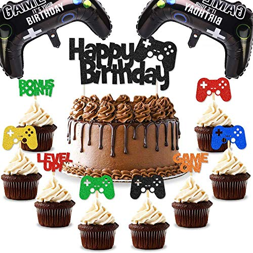 27PCS Video Game Cake Topper Game Themed Cupcake Toppers, Video Game Foil Balloon Party Supplies Perfect for Birthday Party,Game Themed Party Decoration