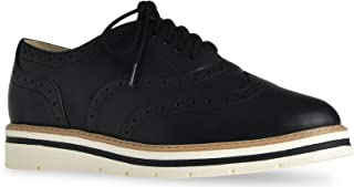 LUSTHAVE Women's Tinsley Lace Up Platform Brogue Trim Oxford Flats Sneakers Loafers