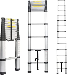 Soges 12.5ft Telescoping Extension Ladder,12 Steps Aluminum Extendable Telescopic Ladder with Spring Loaded Locking Mechanism Non-Slip Ribbing 330 Pound Capacity EN131 Certified KS-JF-008