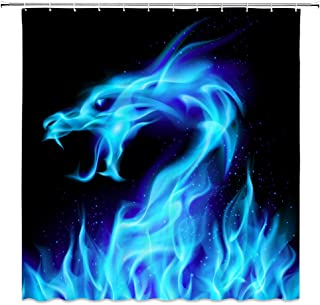 Lileihao Blue Fire Dragon Shower Curtains Beautiful Bathroom Decor Waterproof Polyester Fabric Home Bath Decor Accessories...