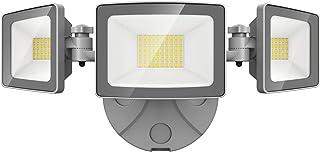 Onforu 50w Projecteur LED Extérieur Etanche 3 Tête, 5000LM IP65 Etanche Spot LED Extérieur Lampe Triple, 6000K Blanc Froid...