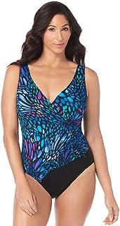 8111e2b63e10 Longitude Women's Swimwear Sunshower Mesh Ruffle Surplice V-Neckline Tummy  Control Long Torso One Piece