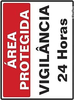 Placa em Poliestireno 15X20 Cm - Área Protegida Vigilancia 24 Horas, SINALIZE, 220BN, Branca