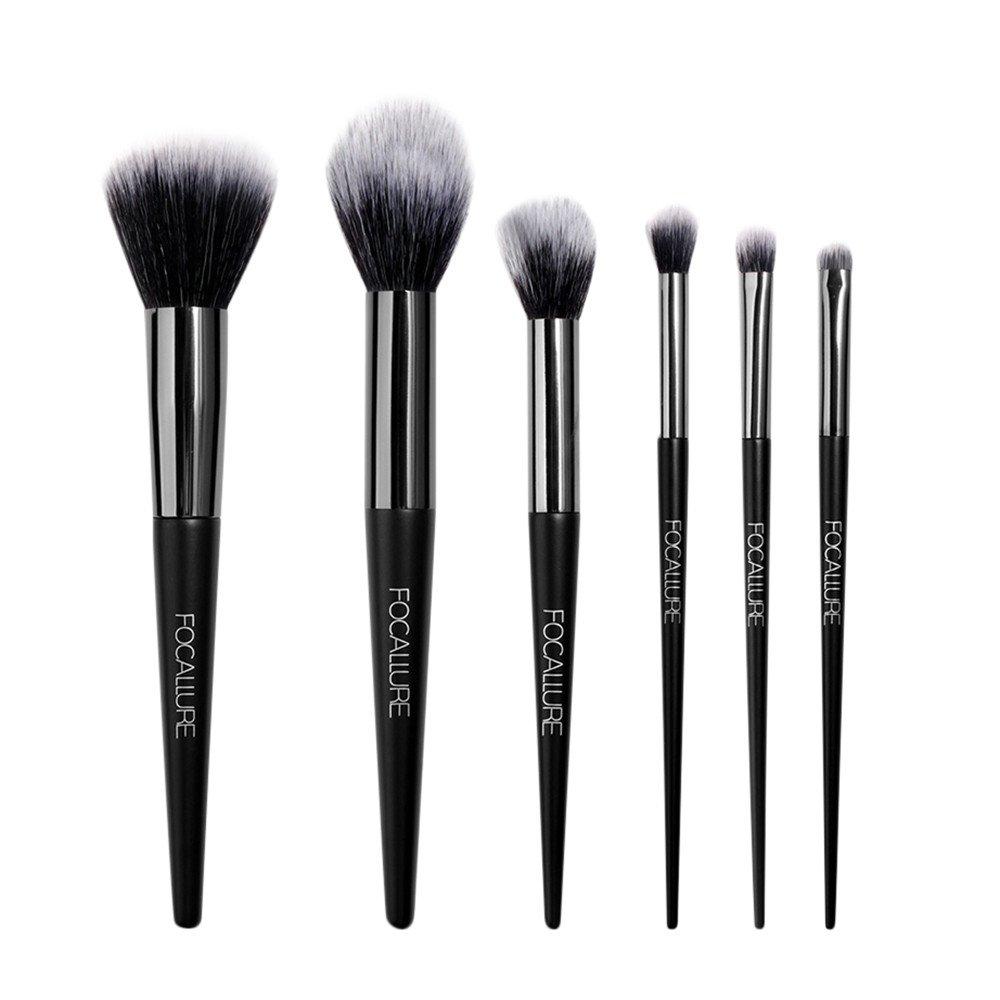 FOCALLURE Set de brochas de maquillaje 6 piezas Pinceles de maquillaje professional fibra sintética/Set de brochas de maquillaje profesional Kit de maquillaje ...