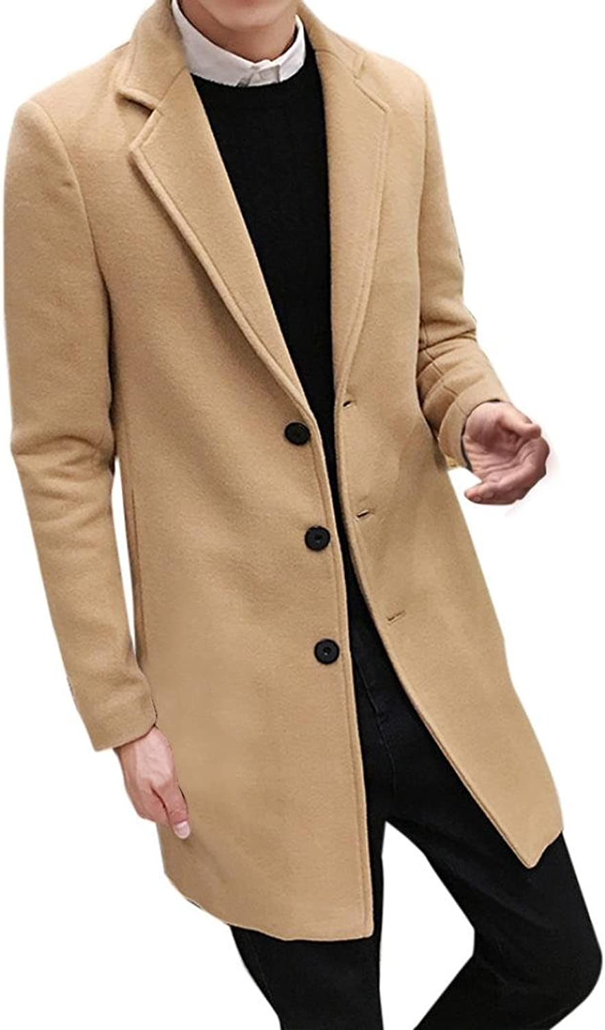 ManxiVoo Autumn Winter Coats for Men Wool Blend Overcoat Single Breasted Figuring Pea coat Long Jacket Outwear (L, Khaki)