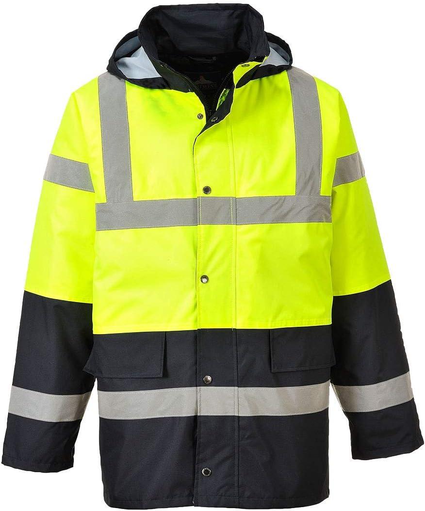 Portwest Hi-Vis Contrast Traffic Jacket Viz Insulated Safety Visability Work Wear Rain ANSI 3, YellowBlack, Large