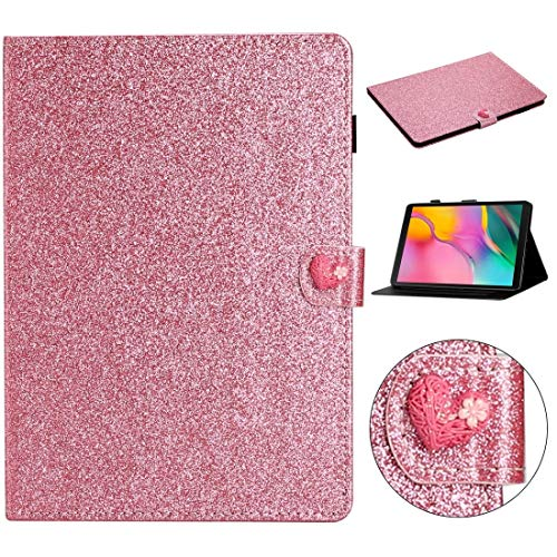 GLXC AYDD For Samsung Galaxy Tab A 10.1 T510 Love Buckle Glitter Horizontal Flip Leather Case with Holder & Card Slots (Color : Pink)