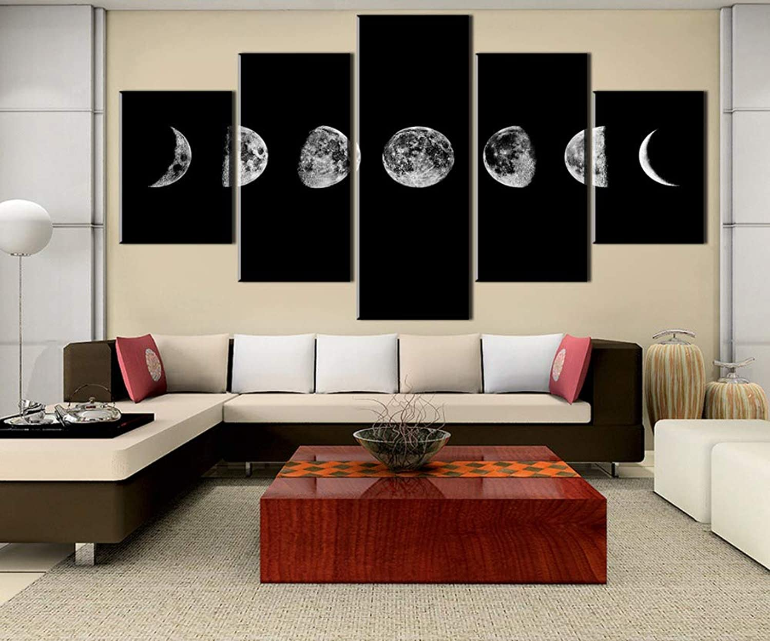 LONLLHB Painting Framed 5 Piece Canvas Art Moon Changes Paintings On Canvas Wall Art for Home Decorations Wall Decor Artwork