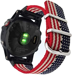 YOOSIDE 26mm Watch Band for Garmin Fenix 6X Pro/Sapphire,Woven Nylon US Flag Pattern Wristband Strap with Stainless Steel ...