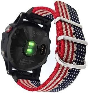 YOOSIDE 26mm Watch Band for Garmin Fenix 6X Pro/Sapphire,Woven Nylon US Flag Pattern Wristband Strap with Stainless Steel Clasp for Garmin Fenix 5X/Fenix 5X Plus,Fenix 3,Multicolor