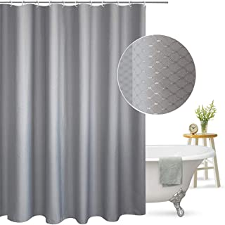 AooHome Extra Long Shower Curtain Fabric Bathroom Curtain Waffle Weave Pattern with Weighted Hem, Heavy Duty, 72x86 Inch, Grey