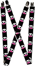 Cute White Panda Bear Faces w/Pink Mustaches Suspenders